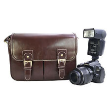 Waterproof PU Leather SLR Camera Shoulder Bag with Detachable Inner Liner