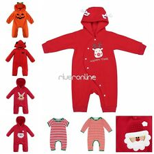 Infant Baby Boys Girls Romper One Piece Jumpsuit Bodysuit Hooded Outfits Warm