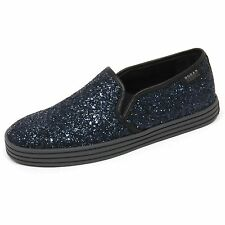 C7994 sneaker donna HOGAN REBEL R141 scarpa blu/nero glitter slip on shoe woman