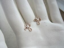 Handcrafted Jewelry Mixed Metal Christian Cross Stud Earrings