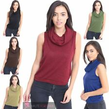 NEW WOMENS CROP CROPPED SLEEVELESS COWL NECK VEST TOP SIZE 8-26