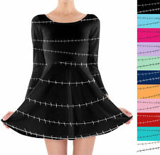 Stitches Jack Skellington Inspired Longsleeve Skater Dress XS-3XL All-Over-Print
