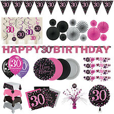 30th Birthday Party Decorations Pink Silver Tableware Plates Cups Napkin Cutlery