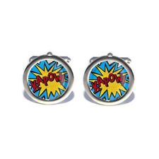 Kapow Cartoon Comic Book Superheroes Cufflinks