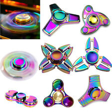 Rainbow EDC Hand Spinner Tri-Fidget Focus Desk Toys Anti Stress Colorful Gyro UK