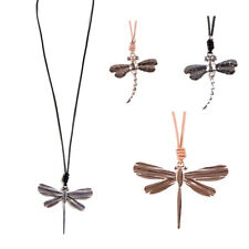 URBAN MIST LAGENLOOK JEWELLERY SILVER R.GOLD DRAGONFLY PENDANT LEATHER NECKLACE