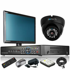 1 x Day Night Camera Full HD 4 Channel DVR CCTV Kit Live Viewing with Monitor 3G