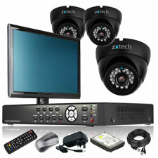 3 x LED IR Camera Full HD 4 Channel DVR CCTV Package All Inclusive with Monitor