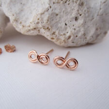 Infinity Symbol Handmade Handcrafted 14k Rose Gold Filled Stud Post Earrings