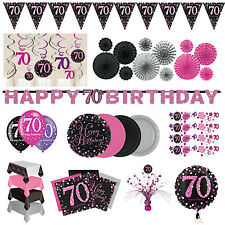 70th Birthday Party Decorations Pink Silver Tableware Plates Cups Napkin Cutlery