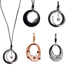 URBAN MIST LAGENLOOK JEWELLERY SILVER LEAF RINGS PENDANT LEATHER LONG NECKLACE