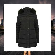 TOKYO LAUNDRY WOMENS LONGLINE FAUX FUR HOODED QUILTED WINTER PUFFA COAT 3J9826