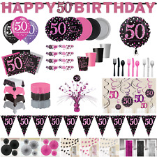 50th Birthday Party Decorations Pink Silver Tableware Plates Cups Napkin Cutlery