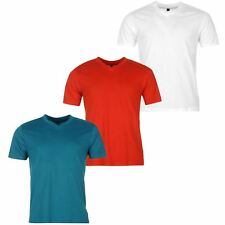 Donnay 3 Pack V-Neck T-Shirt Mens Red/Teal/White Sportswear Top Tee Shirt