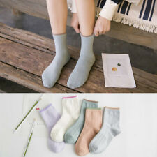 5 Pairs Womens Cotton Candy Color Cute Ankle High Warm Sports Casual Socks NEW