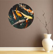 Koi Pond Circle Wall Decal Fish Vinyl Sticker Mural Kids Wall Art Removable