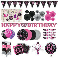 60th Birthday Party Decorations Pink Silver Tableware Plates Cups Napkin Cutlery