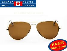 RAY BAN AVIATOR RB 3025 001/57 58/62MM GOLD FRAME W BROWN POLARIZED LENSES