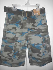 Boys Route 66 Cargo Shorts Printed Green Camouflage Belted Various Sizes NWT