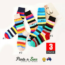 3 Prs Mens Stripe Socks Crew Fashion Casual Cotton Socks Fall Winter AU Stock