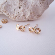 Double Infinity Symbol Handmade Handcrafted 14k Gold Filled Stud Post Earrings