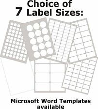 Gloss White Photo Inkjet Printer Labels Round or Rectangle Stickers 5 A4 Sheets