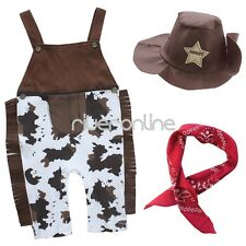 3pcs Baby Boys Cowboy Handkerchief Suspender Overalls Outfit Clothes Party New