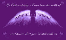 Angel Wings Wall Art Picture 'IF I Listen Closely' Quote Canvas Print Purple