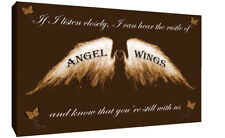 Angel Wings Wall Art Picture 'IF I Listen Closely' Quote Canvas Print Brown