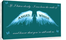 Angel Wings Wall Art Picture IF I Listen Closely Quote Canvas Print Teal
