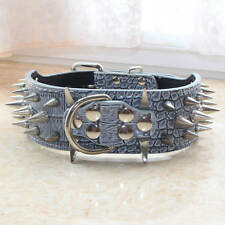 2 inch Leather Dog Collar Spiked Studded Collar Cathro Pit Bull Bully Terrier