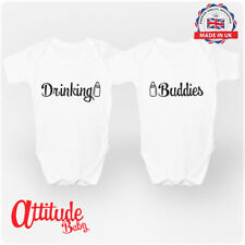 Drinking Buddies Twin Baby Clothing BabyGrows Twin Pack vests - Attitude Baby