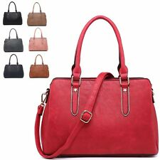 Ladies Faux Leather Multi Compartment Shoulder Bag Evening Handbag Tote MA34932