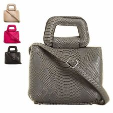 Ladies Fx Leather Snakeskin Top Handle Shoulder Clutch Bag Handbag Purse KT738S