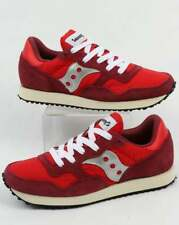 Saucony DXN Vintage Trainers in Red & White - retro runner, suede & nylon