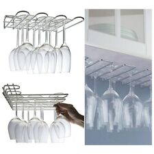 Wall Mounted Under Kitchen Cupboard Counter Storage Rack Wine Glasses Flutes UK