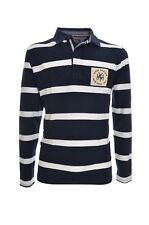 TOMMY HILFIGER Polo rugby a fasce bianco/blu sottocollo stampato uomo, regular