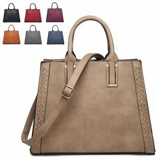 Ladies Faux Leather Woven Day Handbag Bucket Shoulder Bag Grab Bag Tote M7563
