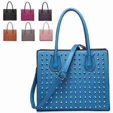 Ladies Faux Leather Studded Handbag Shoulder Bag Structured Tote bag MF3906