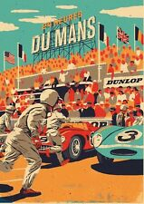 Classic Poster Le Mans 24 Hours 1950 Reproduction Motorsport Grand Prix A4 A3