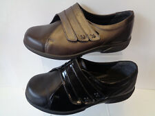 Donna Easy B Marrone/Espresso Nero/ NERO Increspato Scarpe in pelle BAKEWELL