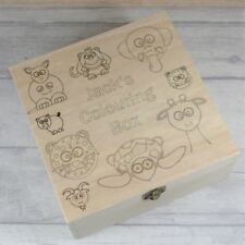 Personalised Keepsake Box For Children, 'Colour it In' Wooden Storage Box