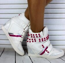 New Ladies White Hidden Wedge Velcro Trainers High Top Sneakers Shoes Size 3-8