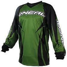 ONEAL MX MOTOCROSS JERSEY BMX MTB ATV RACING OFFROAD SIZES S L XL GREEN AND BLAC