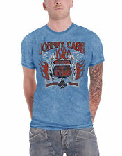 Johnny Cash T Shirt Distressed Ring of Fire Logo Official Mens New Blue Burnout