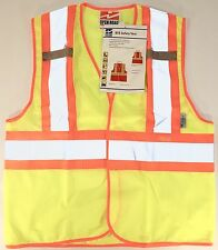 New Safety Vest High Visibility Class 2 Lime Green Yellow Light Weight Mesh BTE