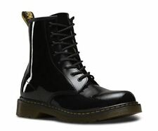 Dr Martens 1460 Y Delaney 8 eyelet Boot Black Patent Leather with laces and zip