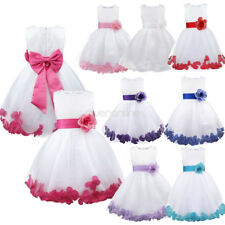 Formal Girls Flower Tulle Dress baby Kids Princess Bridesmaid Wedding Party Gown