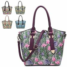 Ladies Floral Faux Leather Bucket Handbag Shoulder Bag Flower Handbag MA34944