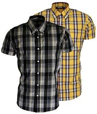 Men's Shirt Black Tartan &Yellow Tartan Short Sleeve Button Down Collar Relco